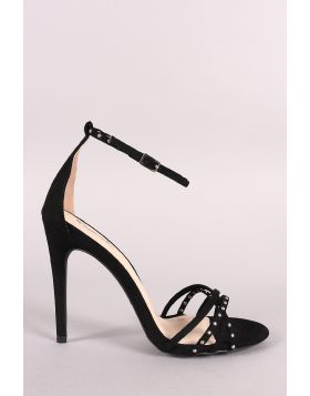 Qupid Studded Strappy Open Toe Ankle Strap Heel - Black Size - 6