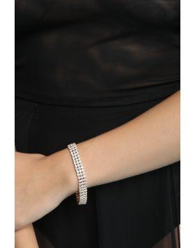 3-Row Rhinestone Bracelet -  Gold Clear