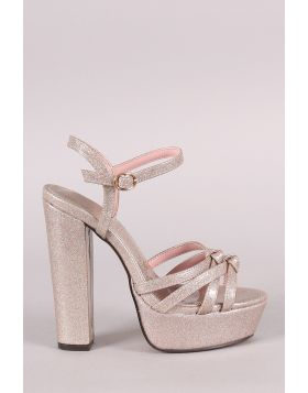 Patent Glitter Knotted Crisscross Open Toe Platform Chunky Heel - Champagne Size - 7