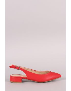 Wild Diva Lounge Pointy Toe Slingback Ankle Strap Flat - Red Size - 6.5