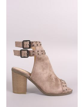 Suede Studded Open Toe Chunky Heeled Mules - Taupe Size - 7.5