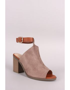 Ankle Strap Mule Peep Toe Booties - Taupe Size - 9