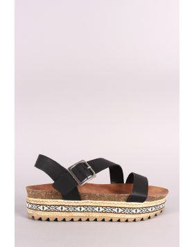 Bamboo Tribal Ribbon Cork Footbed Flatform Sandal - Black Size - 7.5