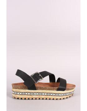 Bamboo Tribal Ribbon Cork Footbed Flatform Sandal - Black Size - 7.5