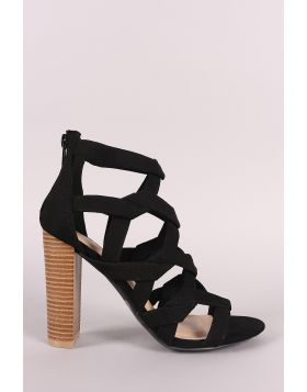 Wild Diva Lounge Suede Caged Open Toe Chunky Heel - Black Size - 6.5