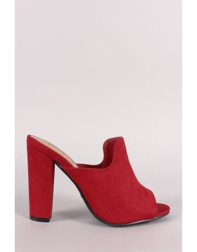 Bamboo Suede Peep Toe Mule Chunky Heel - Red Size - 5.5