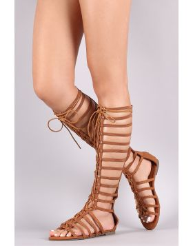 Suede Strappy Studded Lace-Up Gladiator Flat Sandal