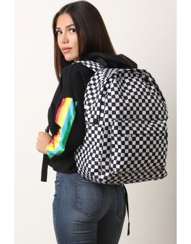 Checkered Print Backpack -  Black/White