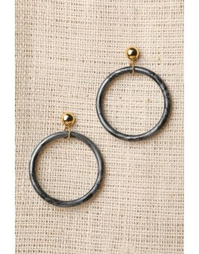 Marble Hoop Earrings -  Charcoal