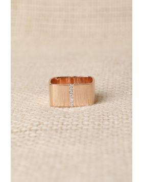 Rhinestone Wide Band Ring -  Rose Gold