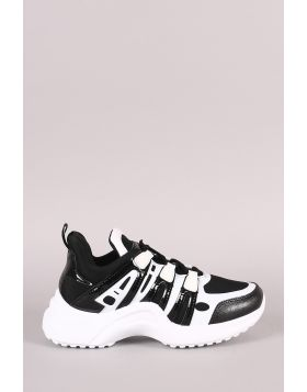 Colorblock Elastane Trim Lace-Up Sneaker - Black Size - 6