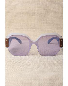Oversized Semi-Rimless Colorblock Sunglasses -  Blue
