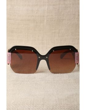 Oversized Semi-Rimless Colorblock Sunglasses -  Brown