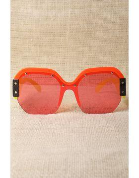 Oversized Semi-Rimless Colorblock Sunglasses -  Yellow