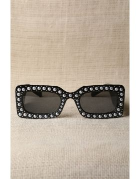 Retro Stud With Pearl Embellished Sunglasses Brown