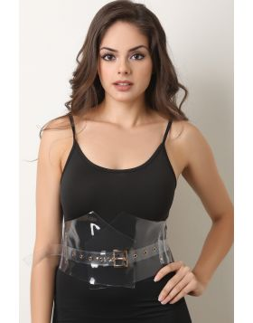 Transparent Square Buckled Belt -  Clear