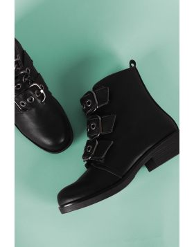 Bamboo Buckled Strap Moto Ankle Boots - Black Size - 6.5