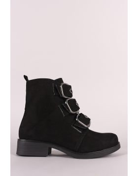 Bamboo Suede Buckled Strap Moto Ankle Boots - Black Suede Size - 6