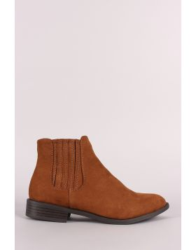 Bamboo Suede Side Elastic Gore Chelsea Booties - Chestnut Size - 6