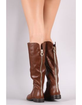 Bamboo Back Zipper Accent Riding Knee High Boots - Chestnut Size - 6.5