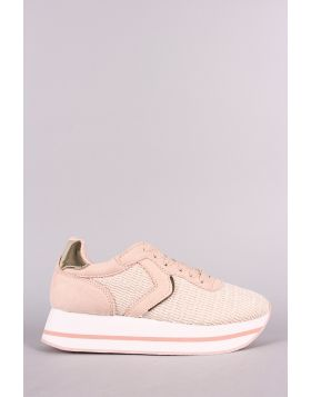 Qupid Flyknit Lace-Up Flatform Sneaker - Nude Multi Size - 6