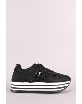 Shimmer Mesh Stripe Lace-Up Flatform Sneaker - Black Size - 8