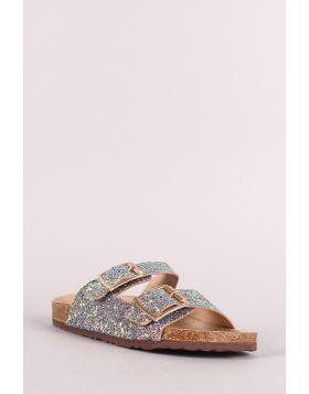 Glitter Double Buckle Cork Footbed Slide Sandal