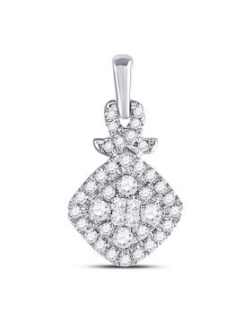 10kt White Gold Womens Princess Round Diamond Soleil Cluster Pendant 3/8 Cttw