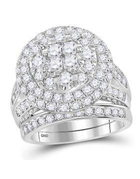 14kt White Gold Womens Princess Round Diamond Soleil Cluster Bridal Wedding Engagement Ring Band Set 3.00 Cttw