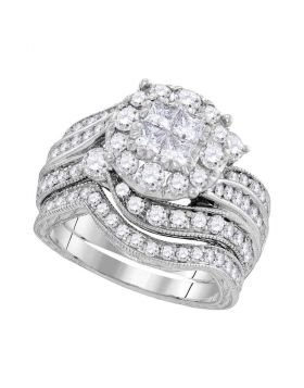 14kt White Gold Womens Princess Round Diamond Soleil Bridal Wedding Engagement Ring Band Set 2.00 Cttw