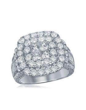 14kt White Gold Womens Princess Round Diamond Soleil Cluster Bridal Wedding Engagement Ring 3-1/2 Cttw