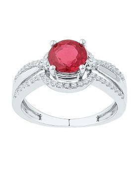 10kt White Gold Womens Round Lab-Created Ruby Solitaire Ring 2.00 Cttw