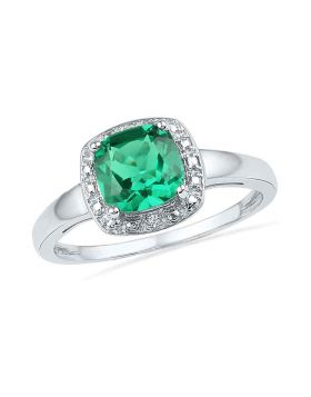 10kt White Gold Womens Princess Lab-Created Emerald Solitaire Diamond Ring 1-3/4 Cttw