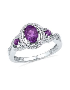 10kt White Gold Womens Oval Lab-Created Amethyst Solitaire Diamond Ring 1.00 Cttw