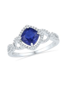 10kt White Gold Womens Princess Lab-Created Blue Sapphire Solitaire Diamond Accent Ring 1.00 Cttw