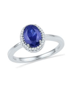 10kt White Gold Womens Oval Lab-Created Blue Sapphire Solitaire Ring 1/12 Cttw