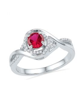 10kt White Gold Womens Round Lab-Created Ruby Solitaire Diamond Twist Ring 3/4 Cttw