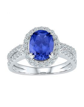 10kt White Gold Womens Oval Lab-Created Blue Sapphire Solitaire Diamond Ring 2.00 Cttw
