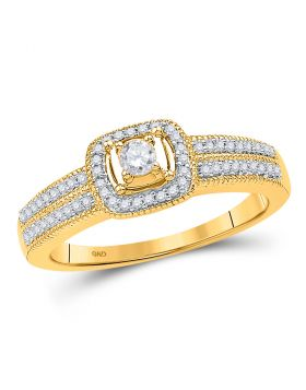 10kt Yellow Gold Womens Round Diamond Solitaire Double Row Milgrain Bridal Wedding Engagement Ring 1/4 Cttw