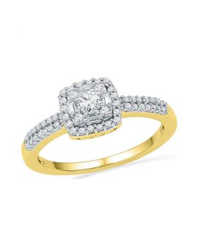 10kt Yellow Gold Womens Round Diamond Square Cluster Bridal Wedding Engagement Ring 1/3 Cttw