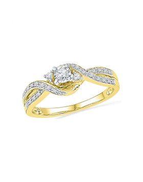 10kt Yellow Gold Womens Round Diamond 3-stone Twist Bridal Wedding Engagement Ring 1/6 Cttw