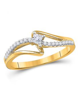 10kt Yellow Gold Womens Round Diamond Solitaire Promise Bridal Ring 1/6 Cttw