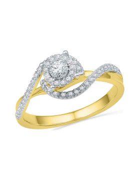 10kt Yellow Gold Womens Round Diamond Solitaire Swirl Bridal Wedding Engagement Ring 1/5 Cttw