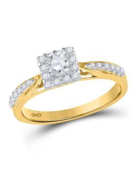 10k Yellow Gold Womens Round Diamond Square Halo Bridal Wedding Engagement Ring 3/8 Cttw