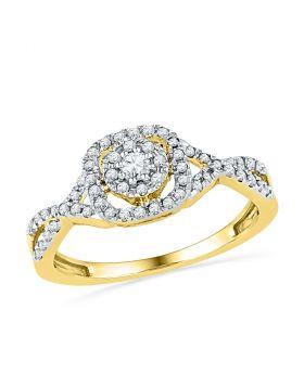 10k Yellow Gold Womens Round Diamond Halo Bridal Wedding Engagement Ring 1/3 Cttw