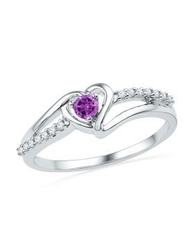 10kt White Gold Womens Lab-Created Amethyst Heart Ring 1/5 Cttw