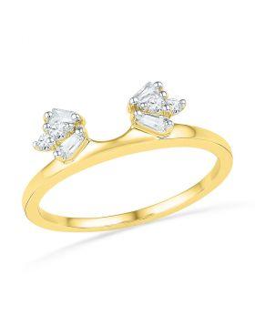 14k Yellow Gold Round Baguette Diamond Womens Solitaire Enhancer Wrap Ring 1/5 Cttw
