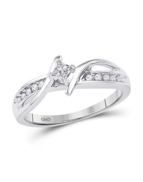 10kt White Gold Womens Princess Diamond Solitaire Bridal Wedding Engagement Ring 1/5 Cttw