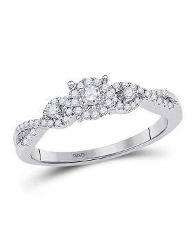 10kt White Gold Womens Round Diamond Solitaire Halo Twist Bridal Wedding Engagement Ring 1/4 Cttw