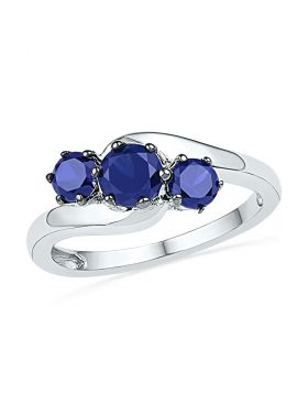 10kt White Gold Womens Round Lab-Created Blue Sapphire 3-stone Ring 1-1/2 Cttw